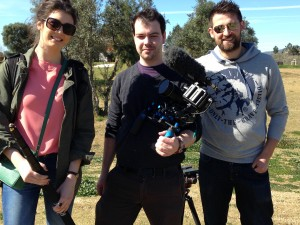 Jenny, Adam and Ric from Sportsbeat. the camera crew filming our Walking Football Documentary.